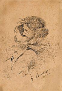 Gustave Courbet Les Amants dans la campagne 1867 Encre sur papier Ornans, musée Gustave Courbet © Musée Gustave Courbet, photo : Pierre Guenat